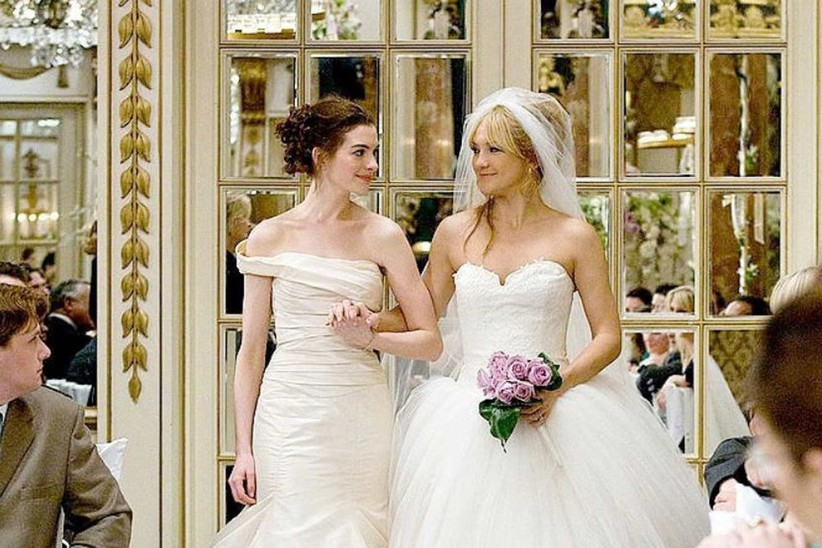 Scene from Bride Wars when Anne Hathaway and Kate Hudson both stand in their wedding dresses