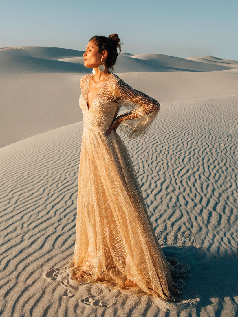 Glittery Catherine Deane wedding dress for older brides in nude