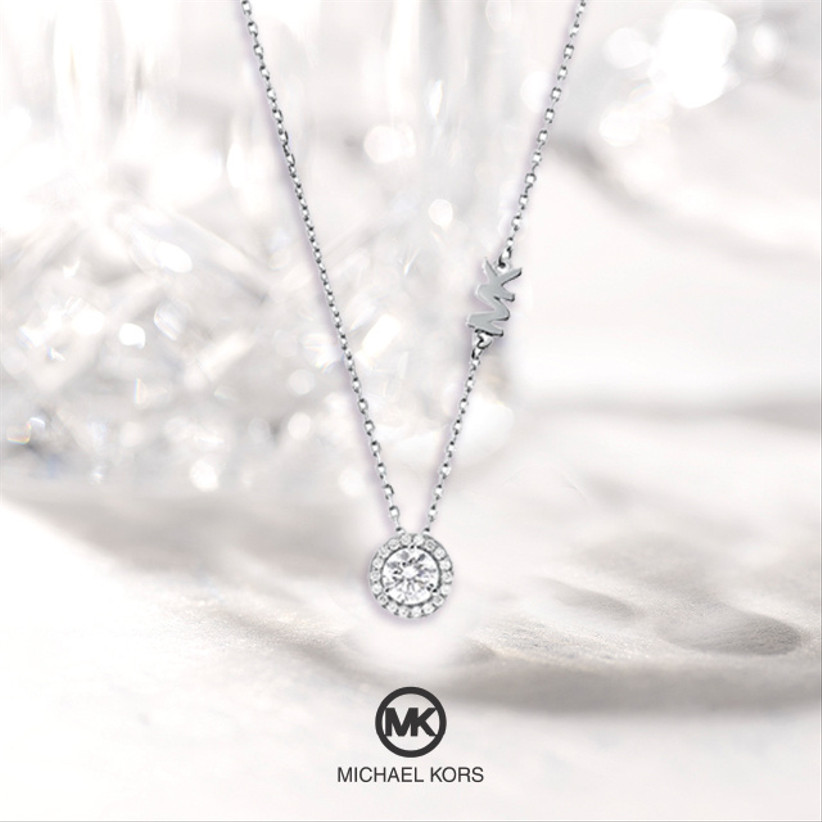 Silver necklace with round cubic zirconia pendant