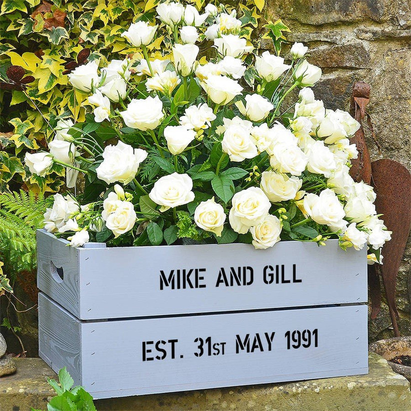 Silver Wedding Anniversary Personalised Crate