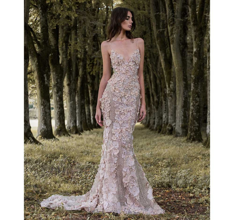 champagne-floral-wedding-dress-with-spaghetti-straps