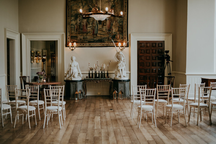 Wide shot of ceremony room at Elmore Court