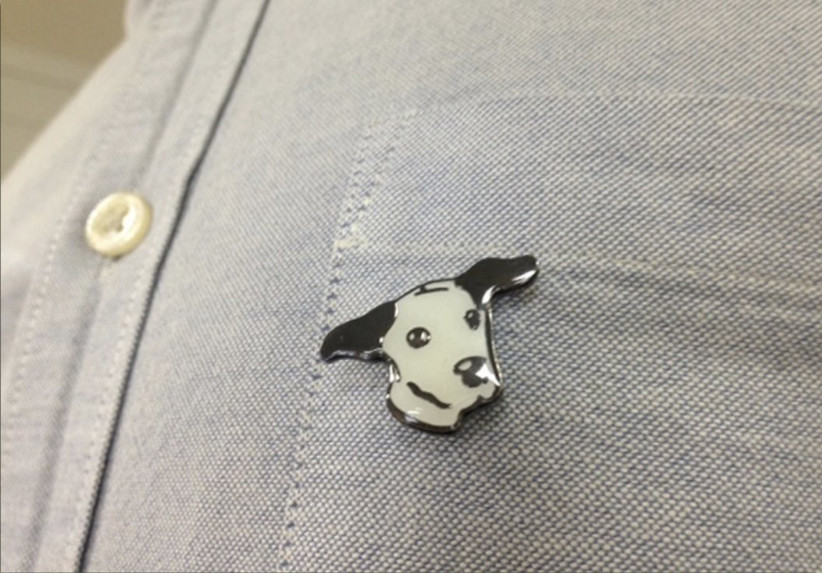 Charity Wedding Favours - dog's trust pins