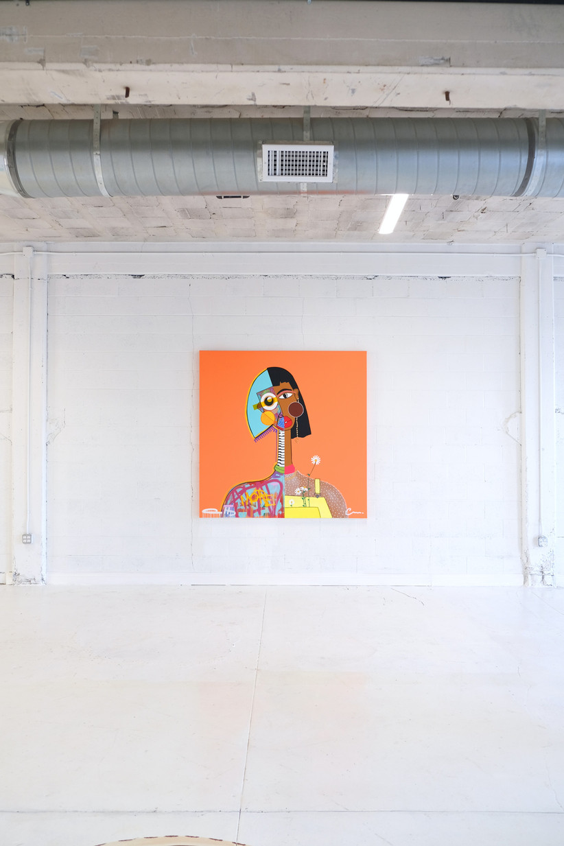 Bright modern expressionist portrait of a woman against a bare white wall