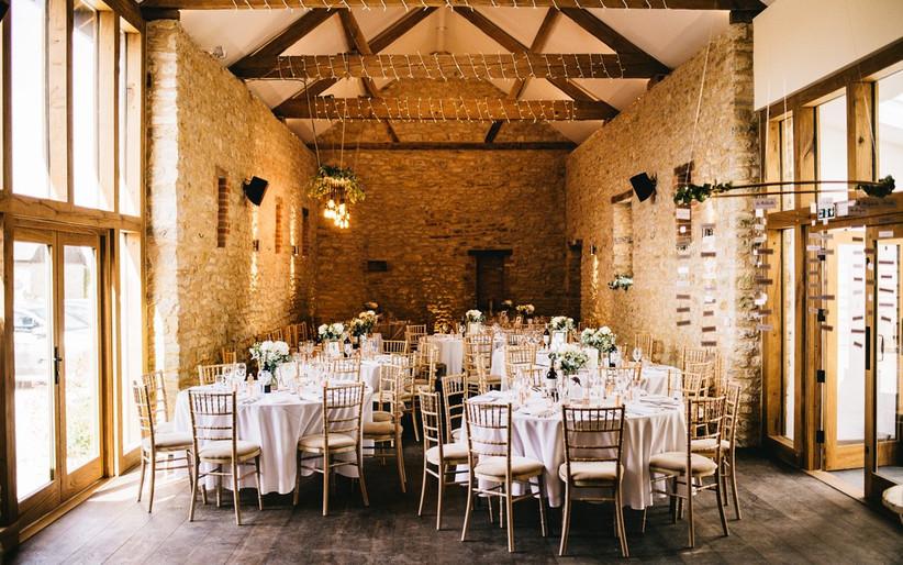 Wedding reception in the barn at Huntsmill Farm
