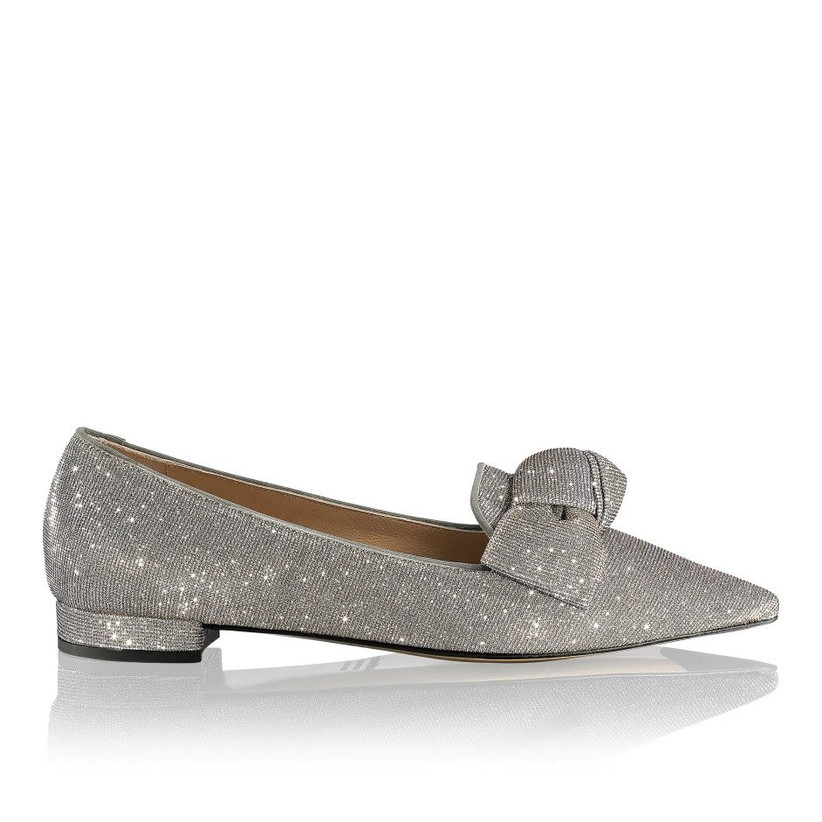 Silver bow flat shoes