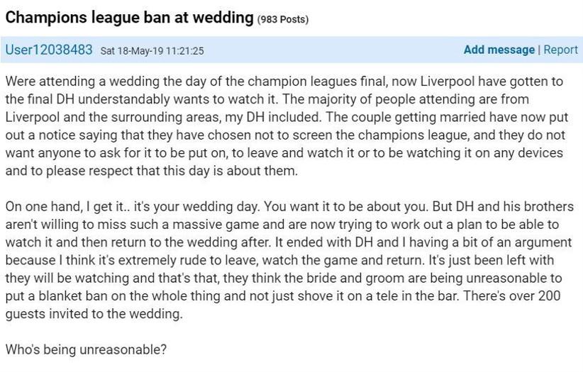 Football at wedding