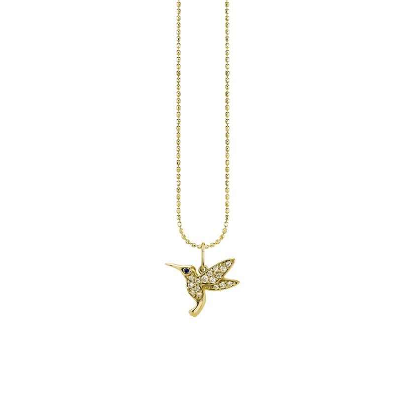 Gold and diamond hummingbird necklace
