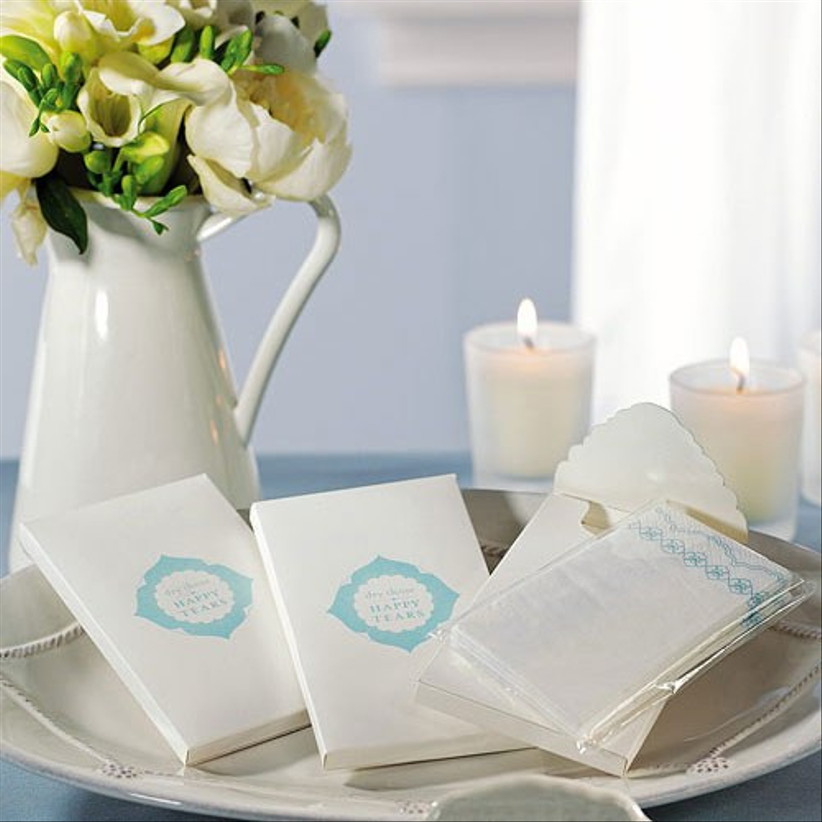 Blue and white wedding favour tissues
