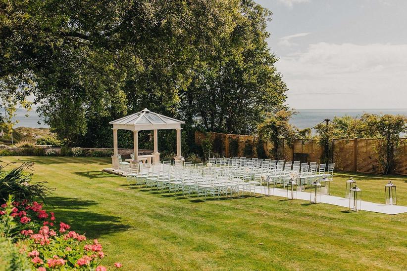 Outdoor wedding ceremony space at Pennsylvania Castle