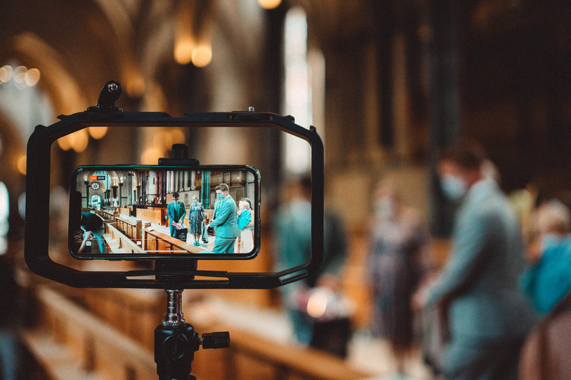 A phone filming Nirosha and Dafydd's wedding