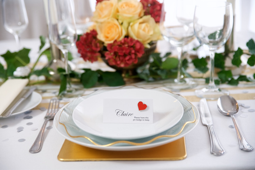 Charity Wedding Favours - heart place cards