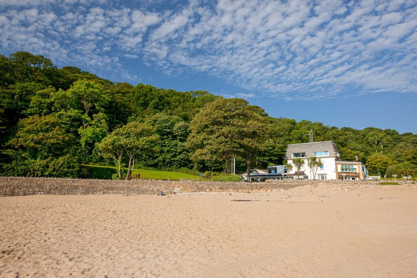 Exterior of Oxwich Bay Hotel on the beach