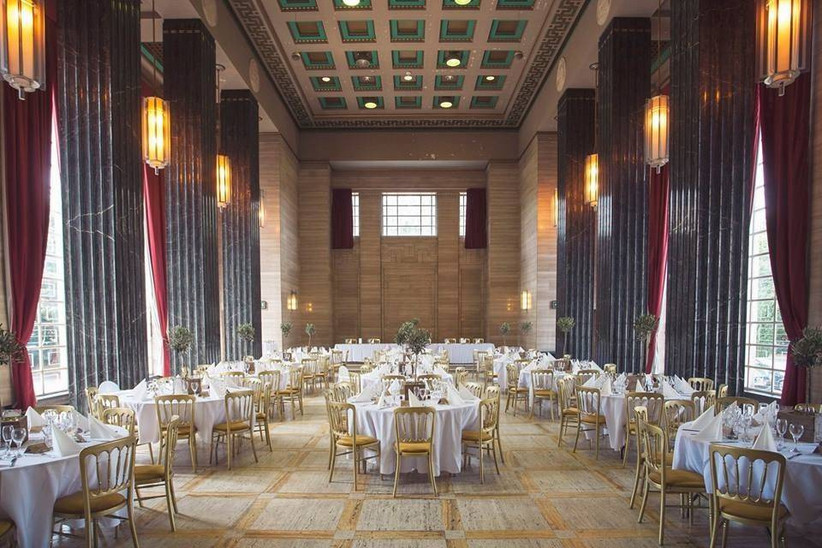 A great hall with wedding dining tables