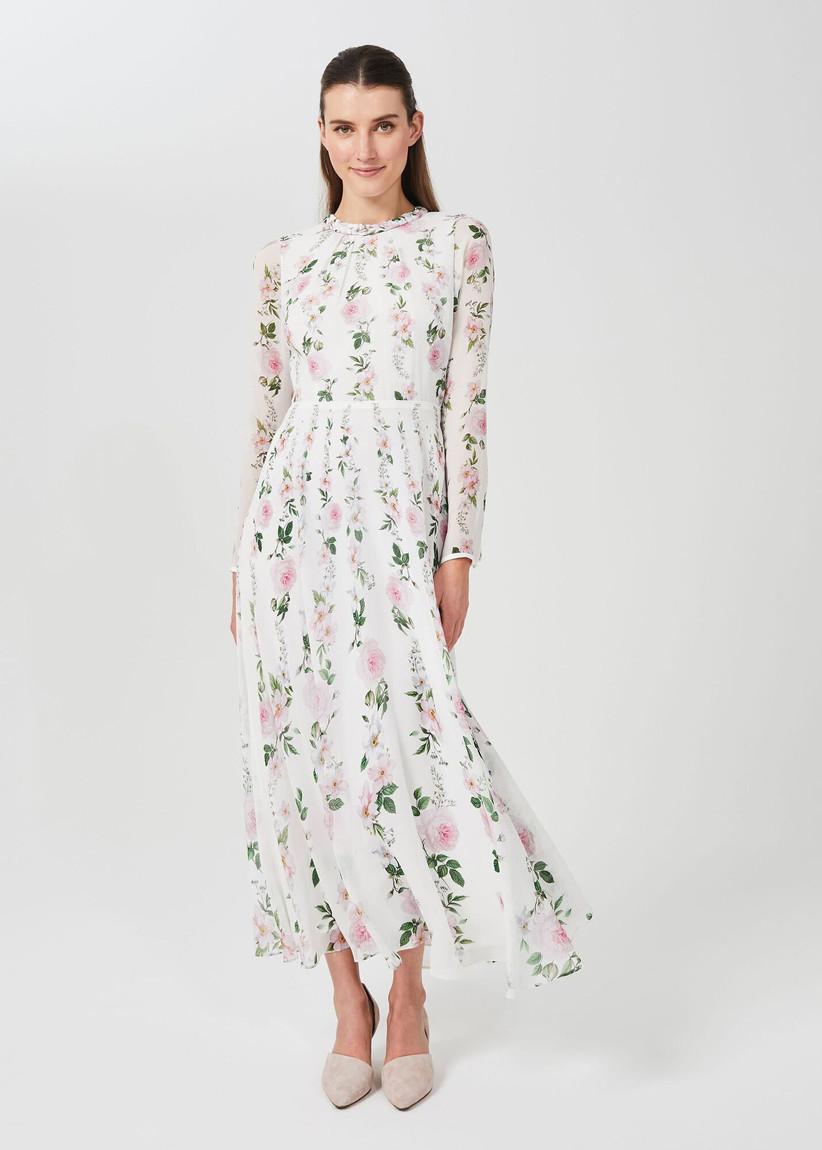 Long silk floral wedding dress for older brides