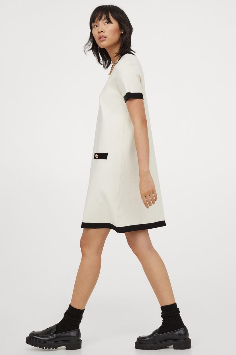 Cream short dress with navy trim