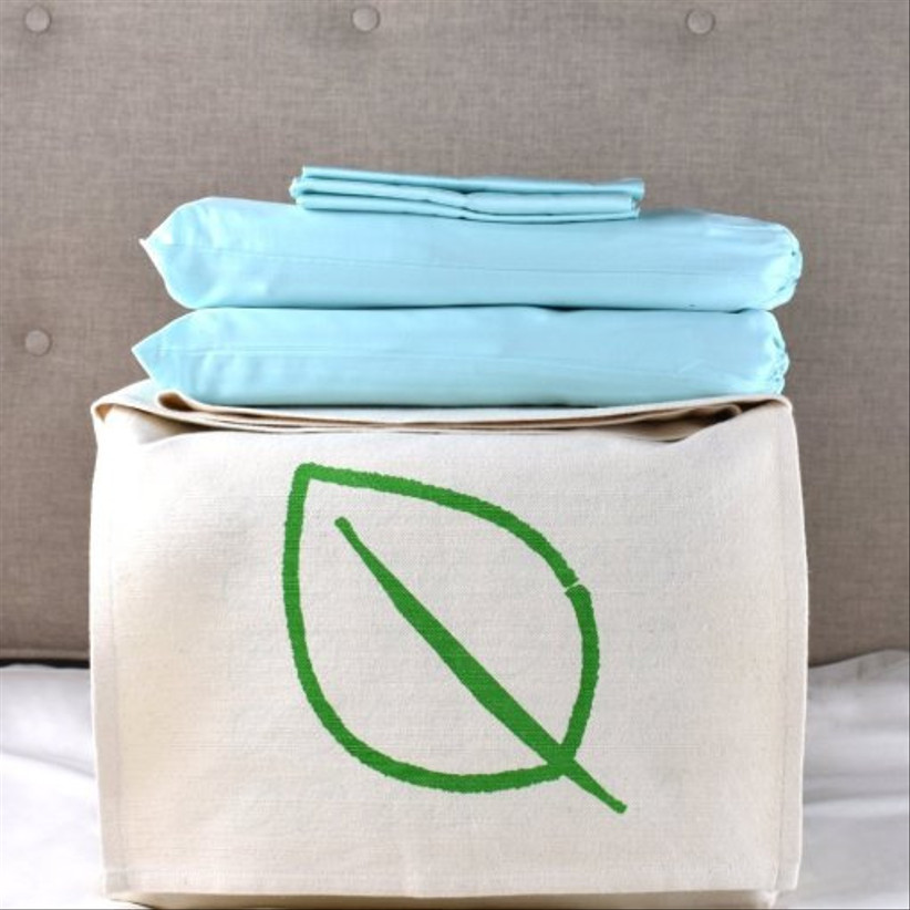 Eco friendly cotton bed sheets in aquamarine