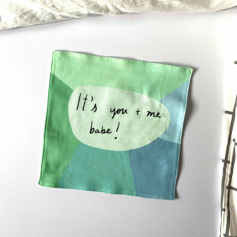 Green and blue hand embroidered with it's you and me babe