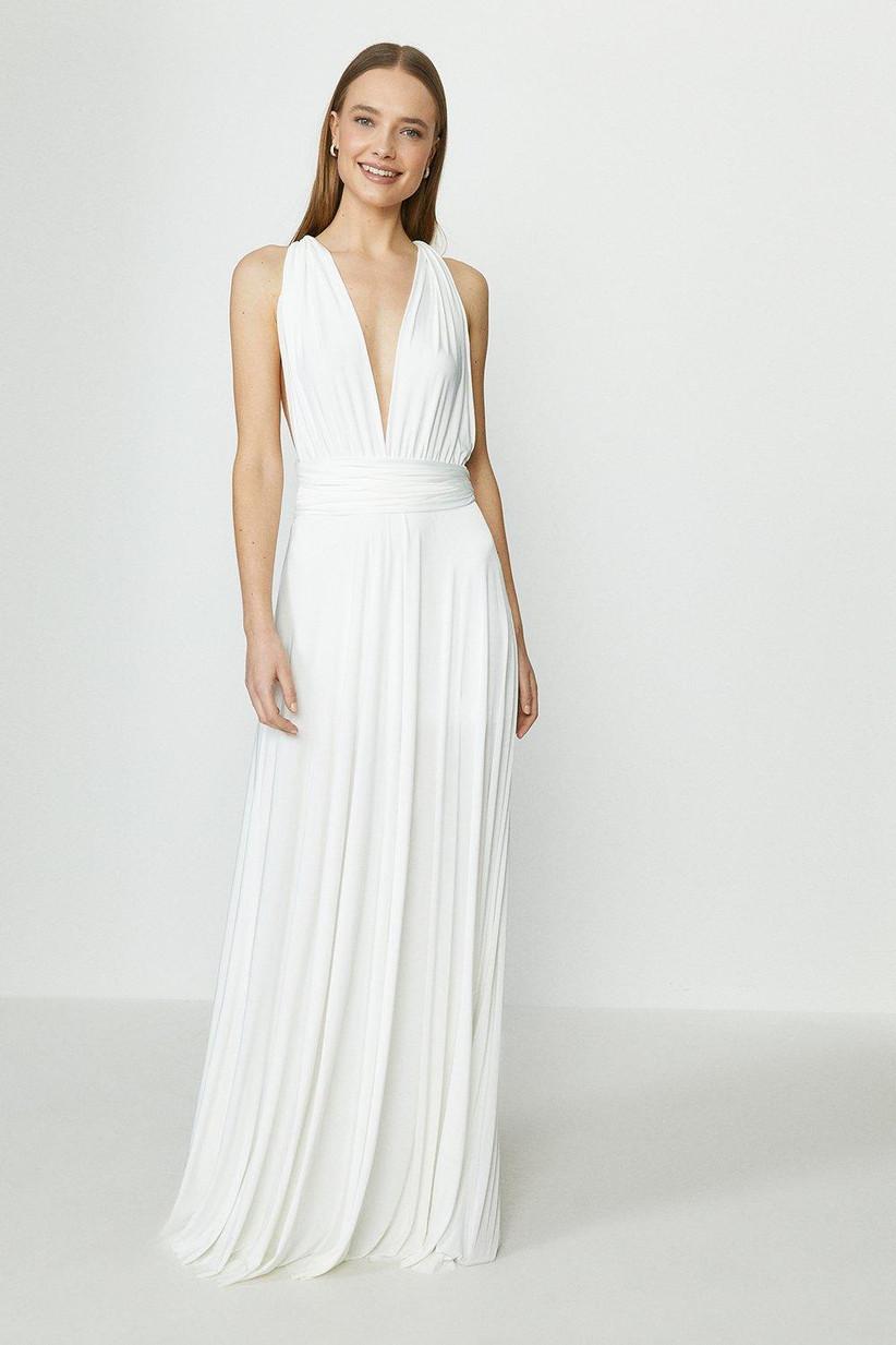 Girl wearing a deep plunge wedding dress