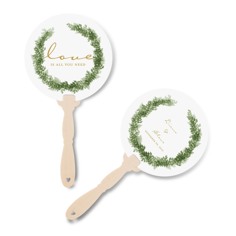 Green and white wreath personalised hand fans