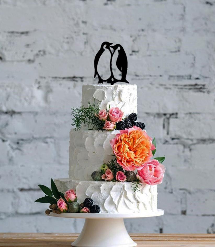 Penguin silhouette wedding cake topper