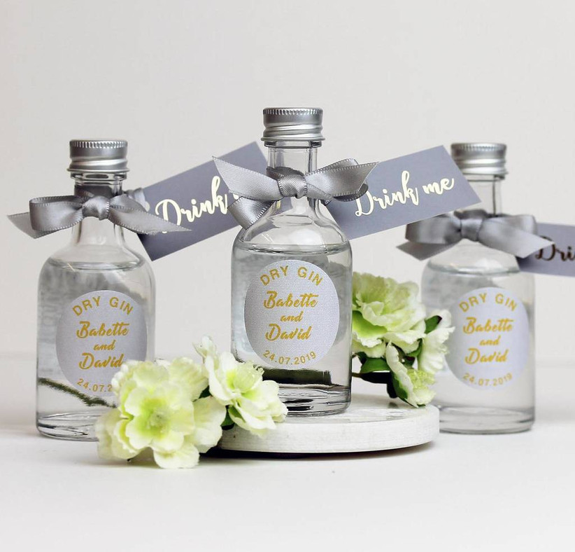 Mini bottles of gin with personalised wedding labels