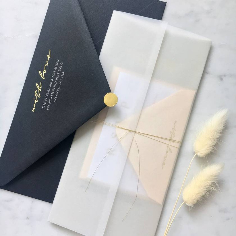 Grey and gold wedding stationery