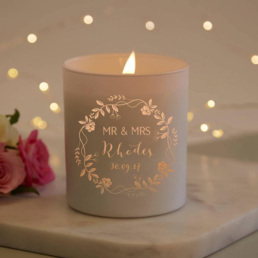 Engraved wedding candle