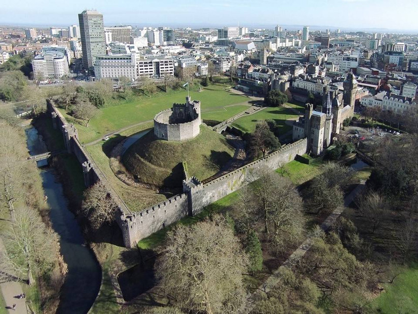 Drone shot of Cardiff Castle