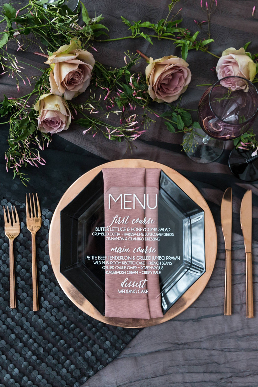 acrylic menu place setting