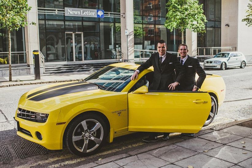 black-and-yellow-camaro-wedding-transport