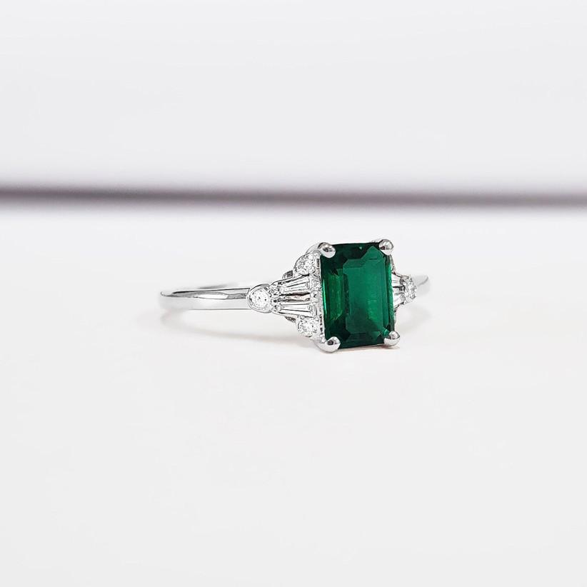 Cheap emerald engagement ring