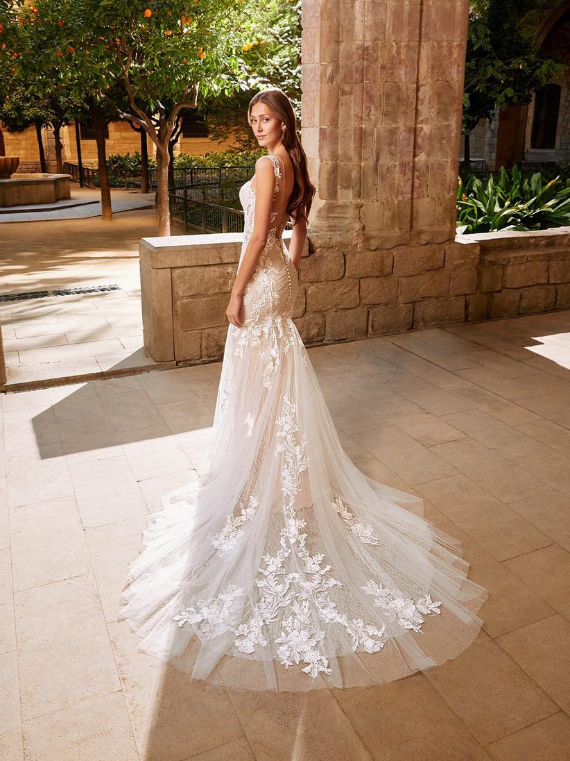 Etoile Stephanie lace mermaid wedding dress from the back