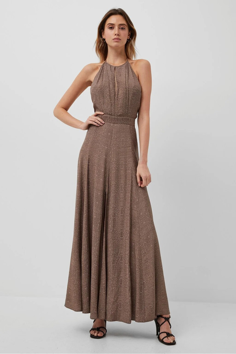 Girl wearing a long brown maxi dress