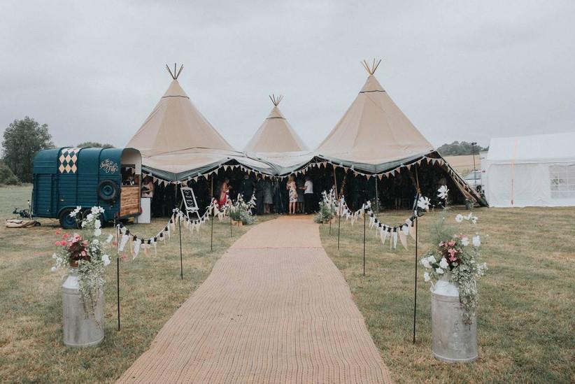 Bunting decorated wedding tipi