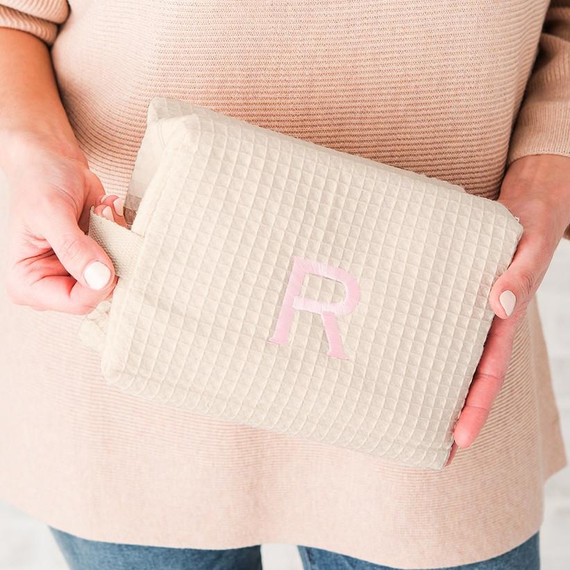 Cotton waffle makeup bag