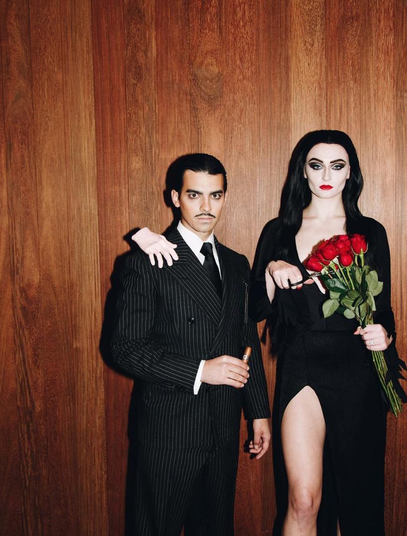 Couples Halloween Costume Gomez and Morticia