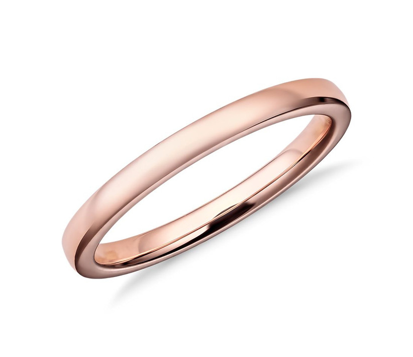 Low Dome Comfort Fit Ring in Rose Gold