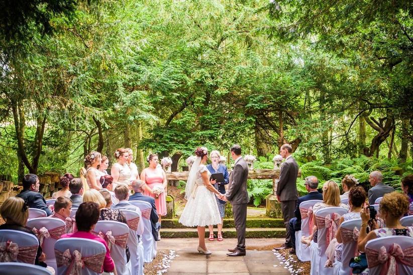 Wedding ceremony in a woodland