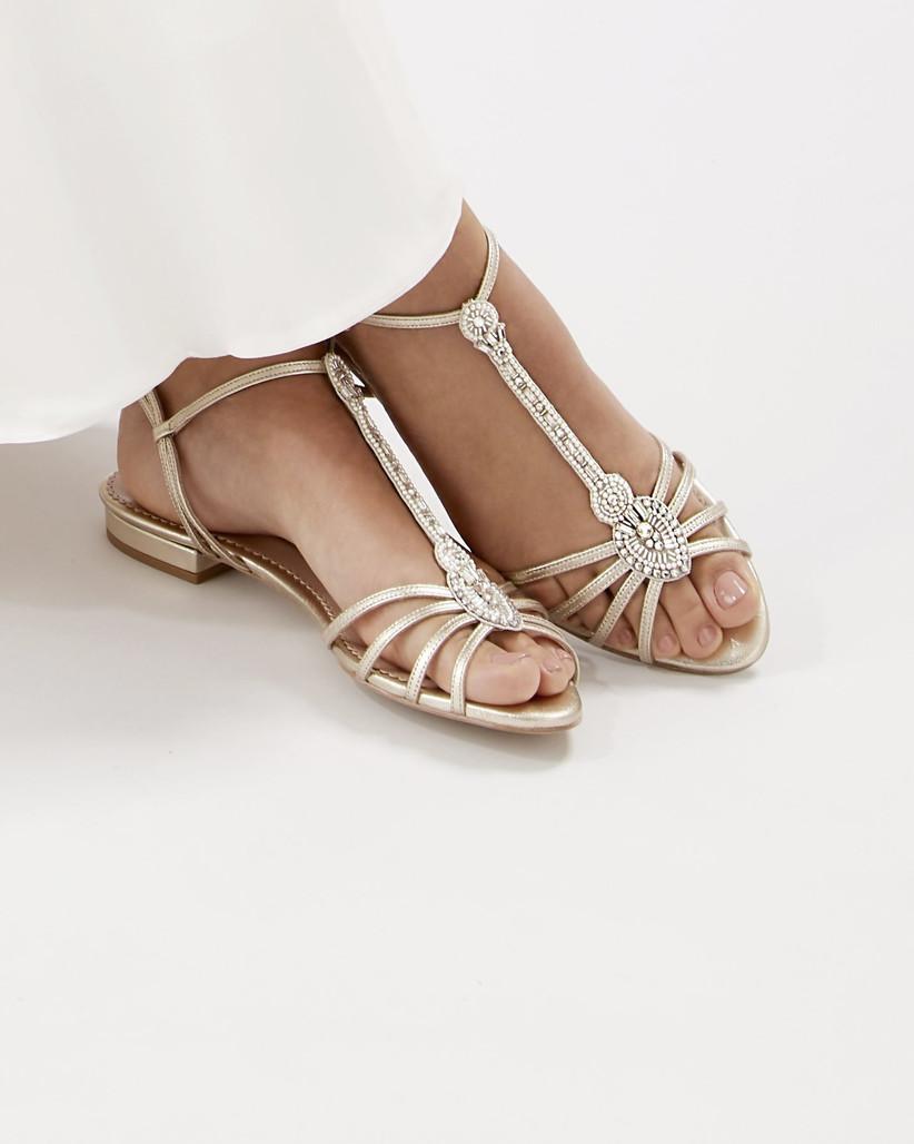 Model wearing crystal bridal flat sandals