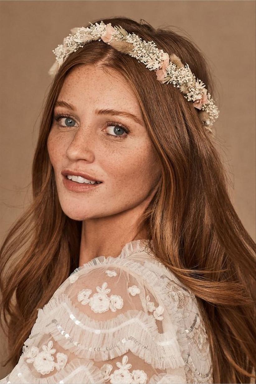 Model wearing a pastel flower crown