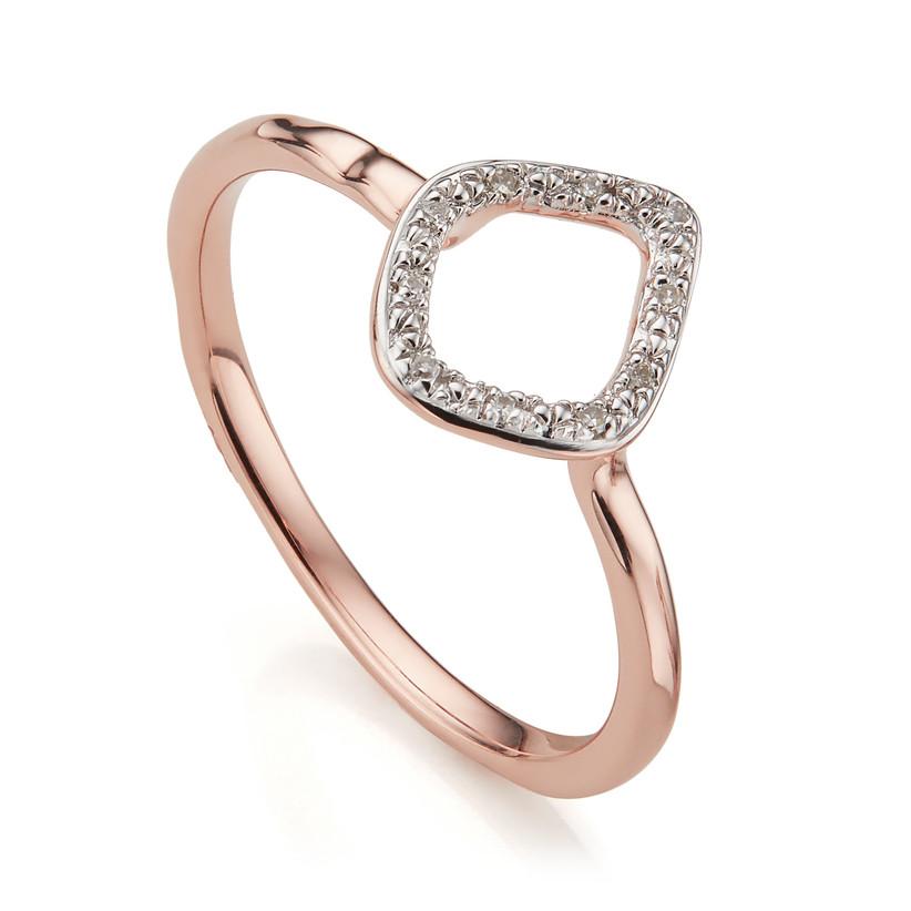Rose gold kite diamond engagement ring