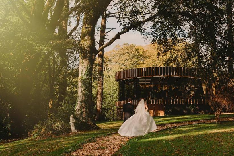 Bride and groom at a coastal wedding venue