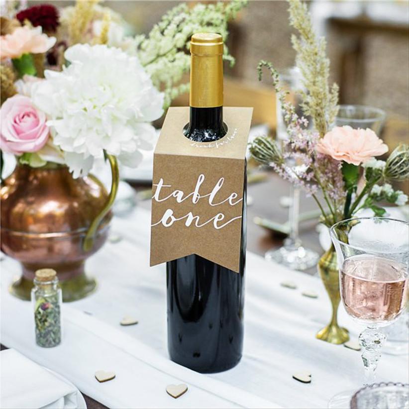 Wine bottle card holder wedding table number