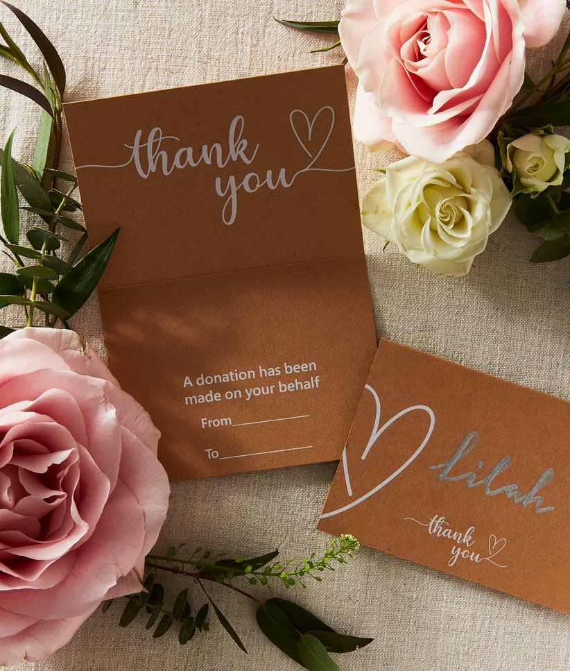 Charity Wedding Favours - kraft place cards