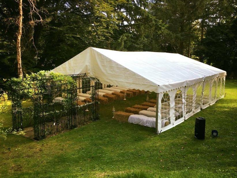 Marquee wedding ceremony area