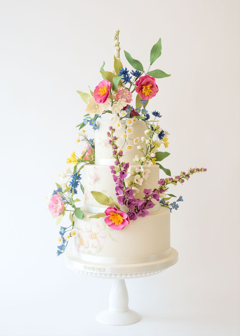 Flower fondant wedding cake