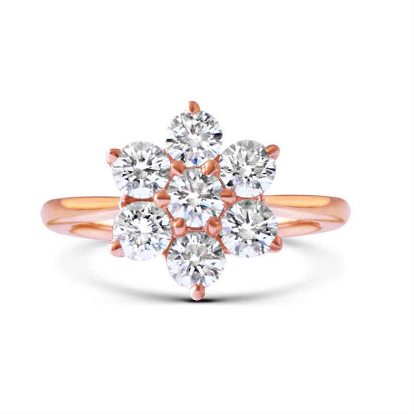 Rose shaped rose gold engagement ring