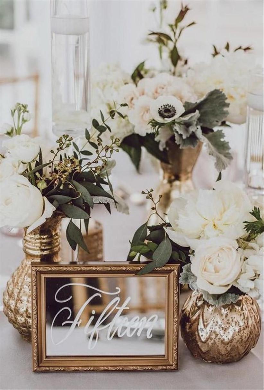 Mirror wedding table number