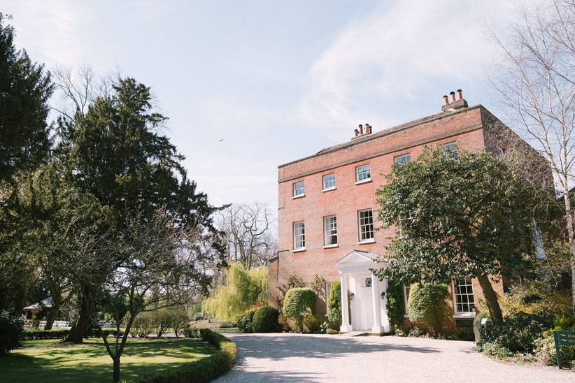 Country house wedding venue with a white door